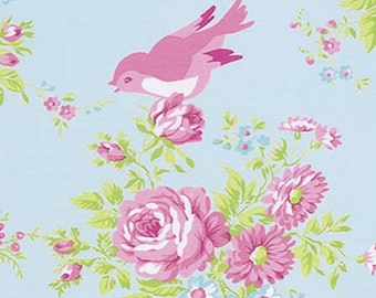NEW Zoey's Garden from Tanya Whelan Bird Floral on blue 1 yard