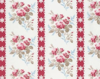 NEW Winters Garden from Tanya Whelan Ticking Floral in Red 1 yard