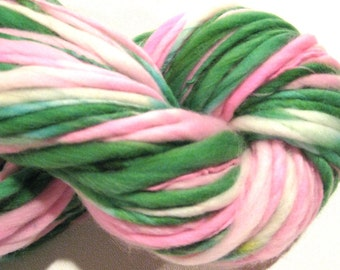 Handspun Yarn Tiptoe Through the Tulilps 134 yards hand dyed merino wool  pink green waldorf doll hair knitting supplies crochet supplies