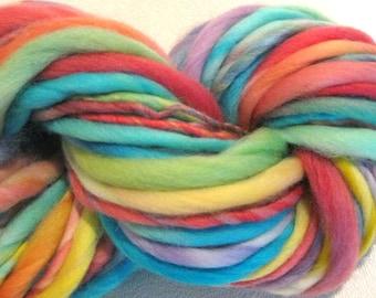 MIni Skein Handspun Yarn Easy Peasy 25 yards hand dyed merino wool rainbow yarn waldorf doll hair knitting supplies crochet supplies