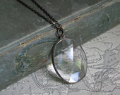 Faceted Stained Glass Jewelry, Prism Pendant, Clear Glass Pendant