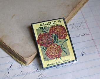 Marigold Vintage Seed Packet Pin, Cleaning out Inventory Sale