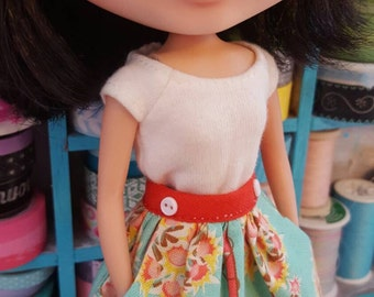 Retro skirt with real pockets for Blythe,momoko,licca & similar dolls handmade by Dollymix