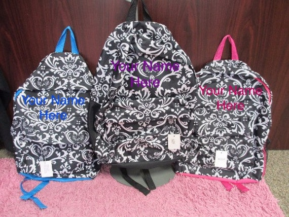 Floral Print Backpack with Personalized Embroidery