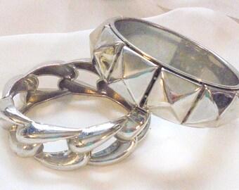 2 Vintage Silver Tone Bracelets, Banglr and Clamper