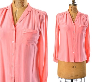 """70s shirt / pink silk blouse / 70s blouse .. small - 36"""" bust"""