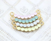 Delicate Swarovski Rhinestone Curved Link Connector Charm Pendant Set Stones 28x3mm Brass Settings White Green Opal Pink Yellow - 2