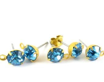 2 pcs - Gold Plated Swarovski Crystal Earring Posts with Loop Rhinestone Ear Studs Earring Finding Round 6.5mm - Aquamarine