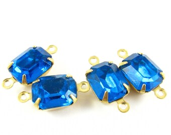 4 - Vintage Glass Octagon Stones Brass Prong Settings Connectors Links Ocean Blue - 10x8mm