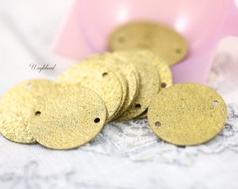 Textured round brass tags with TWO holes Stamping - 30mm - 50