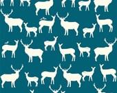 Elk Family Teal, Birch Organic Fabrics, Mod Basics 2, Organic Designer Cotton, Deer, Modern, Rustic, Turquoise, Blue,Unisex, In Custom Cuts