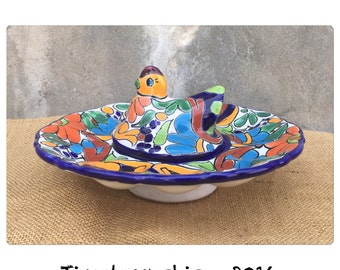 Deviled Egg Plate - Egg Holder - Mexican Pottery - Bohemian Decor - Talavera Pottery - Chicken Decor - Rooster Decor - CHIC