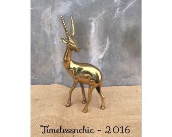 Antelope - Gazelle - Brass Figurine - Hollywood Regency - Wildlife Decor - Jungalow CHIC