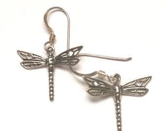 CIJ Sale Sterling Dragonfly Dangle Earrings Ear Wires Vintage