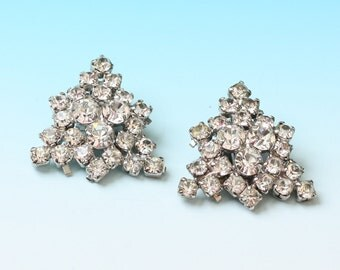 Clear Rhinestone Triangular Shape Clip Earrings Vintage Wedding Bridal Special Occasion