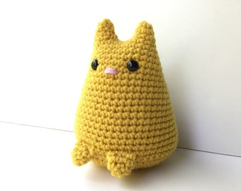 Chubby Plush Kitty Cat - Yellow Gift For Kids Small Desk Toy Stuffed Animal Cat Softie Toddler Toy Cat Kawaii Plush Doll Kids Room Decor