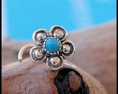 Turquoise Bold Flower Nose Stud / Silver Nose Bone / Unique Nose Ring / Indian Nose Pin/ Large Bold - CUSTOMIZE