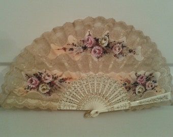Fan, Spanish Lace Floral Fan
