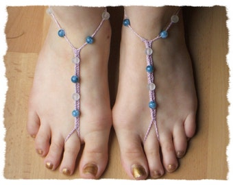 Womens Crocheted Bare-Foot Anklet in Pink and Blue - one size fits most #107