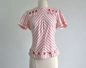 40s Blouse / Red and White Striped Top / Button Back Button Detail