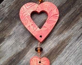 Ceramic Double Heart Ornament, holiday ornament, Christmas tree ornament