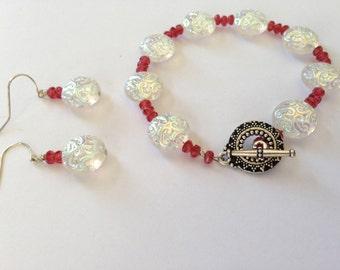 SALE - Pink Bracelet and Earring Set Breast Cancer Awareness