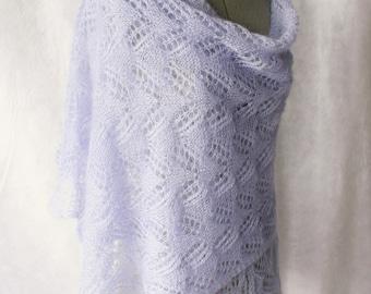 Silk Mohair shawl, wrap, huge shawl, lavender mohair silk yarn Hand knitted to order