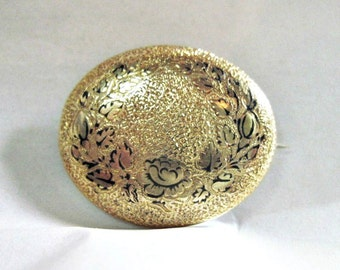 Antique Victorian Black Enameled Pin - Rose - Oval - Gold Filled - Taille D' Epergne Enamel - 1880s