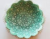 Textured Clay bowl | Small Clay Bowl | Scalloped Edge Bowl | Handbuilt bowl | Clay bowl | Ring Holder | Mint Color | READY TO SHIP