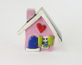 Little Clay House   Ceramic House   Miniature House   Whimsical house   Pink House   Fairy House Hearthome by Beth Macre