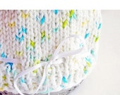 SALE 30% OFF - Photo Prop Baby Hat Hand Knit Cotton White Satin Ribbon Aqua Yellow Green Umbilical Knot