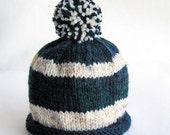SALE 30% OFF - Hand Knit Baby Hat, Pom Pom Beanie, Navy Blue White Stripes, Photo Prop, Newborn