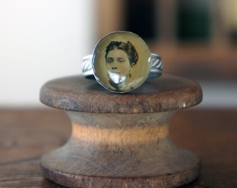 Handmade Silver Artisan Ring with Antique Tintype