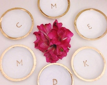 Bridesmaids Jewelry Dish Bundle/15% Off/6 Monogram Ring Dishes/Initial Ring Dish