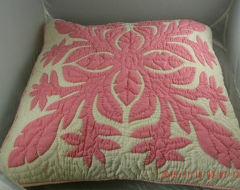 Vintage 1940's Antique Quilted Pink Pillow- Shabby Cottage, Farmhouse, Prairie Style Home