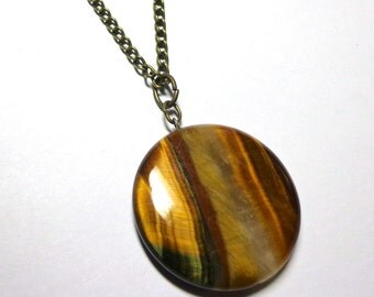 Necklace Tiger Eye Stone, Antique Brass, Spiritcatdesigns, Natural Stone Necklace