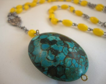 """33"""" vintage yellow rosary, long layering style, with turquoise and brown stone pendant"""