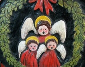 Christmas Angel Choir Carved Wood Wall Plaque Handmade 1950's