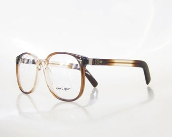 ON SALE Men's Round Wayfarer Eyeglasses Vintage 1970s Oversized P3 Coffee Light Brown Guys Homme Handsome Authentic Deadstock Nos New Old St