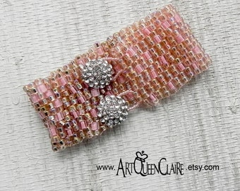 Pink Peyote Stitch Beaded Bracelet with Rhinestone Button Clasp - Pink Bead Woven Cuff - Rhinestone Button Beaded Pink Bracelet