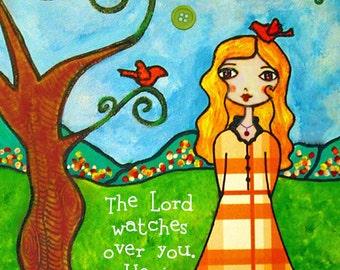 Whimsical Girl Kids Room Nursery Scripture Verse Bible Art Glitter Psalm 121:5