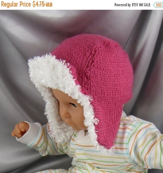 HALF PRICE SALE digital file pdf download knitting pattern - Baby Trapper hat pdf download knitting pattern