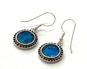 On Sale Roman glass earrings. Sterling silver Roman glass jewelry