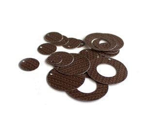 Handmade Vintage Tin Disk Washer Set - Brown Sweater Set - 18 pcs.