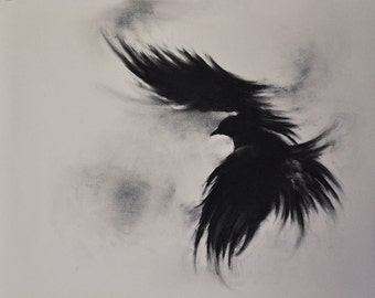 Original Charcoal Crow Drawing Flying Raven Large Gothic Black and White Art 20x25''