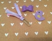 Purple paper clip set