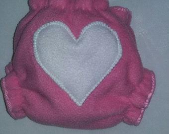 Newborn heart butt fleece diaper wrap
