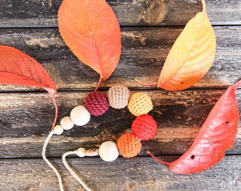 Autumn leaves - nursing necklace breastfeeding teething toy statement jewelry strand necklace - rusteam - colorful