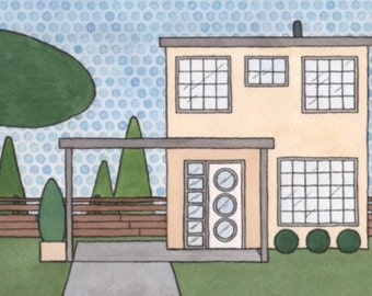 mid century modern house original watercolor painting