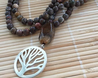 Mala Beads 108 Mediation Tree Necklace Australian Agate Natural Gemstone Black Onyx Relaxation Protection Jewelry